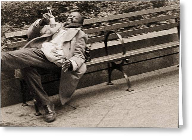Drunk Man On A Park Bench, 2004 Bw Photo Greeting Card by Stephen Spiller