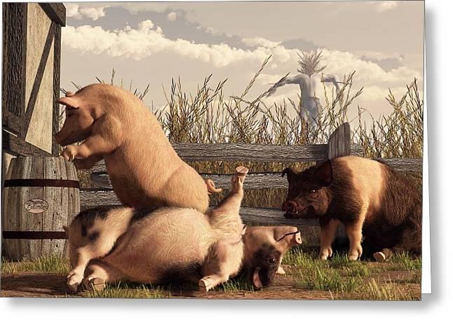 Fabled Greeting Cards - Drunken Pigs Greeting Card by Daniel Eskridge