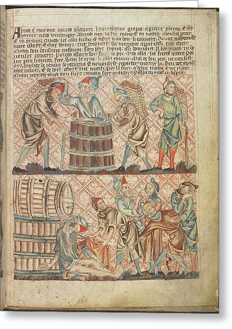 Drunkeness Of Noah Greeting Card by British Library
