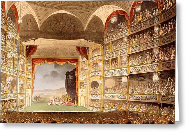 West End Greeting Cards - Drury Lane Theatre, Illustration Greeting Card by T. & Pugin, A.C. Rowlandson