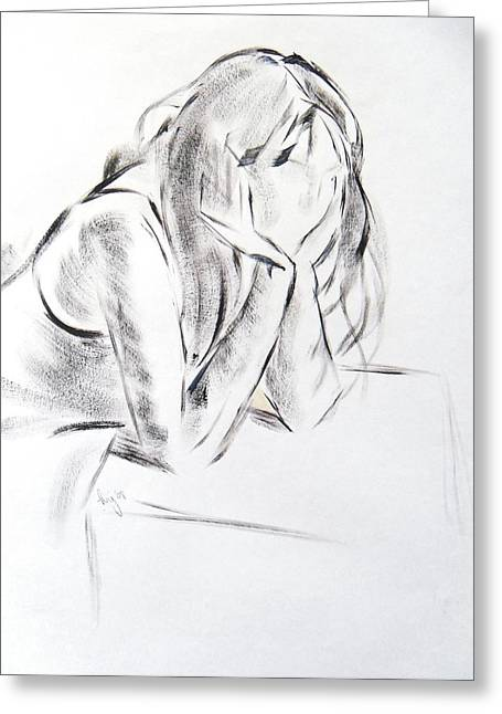 Anonymous Drawings Greeting Cards - Dry brush painting of a young womans face Greeting Card by Mike Jory