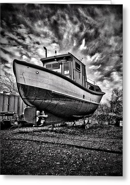 Docked Boat Greeting Cards - Dry dock Greeting Card by H James Hoff