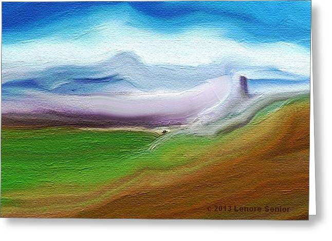 Colorful Cloud Formations Paintings Greeting Cards - Dry Earth Falling Greeting Card by Lenore Senior