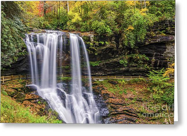 Nantahala Forest Greeting Cards - Dry falls in fall Greeting Card by Anthony Heflin