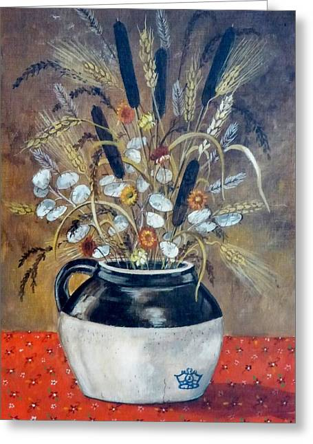 Stoneware Paintings Greeting Cards - Dry Flowers Crock Greeting Card by Jeff and Kathy Howsare Pearl