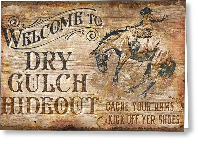 Bucking Horses Greeting Cards - Dry Gulch Hideout Greeting Card by JQ Licensing