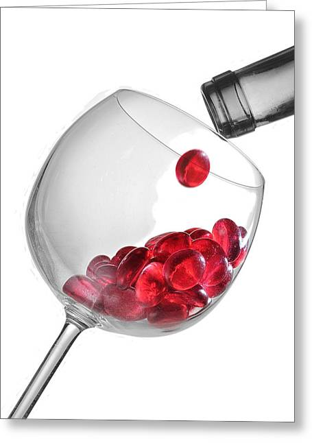 Wine Pour Greeting Cards - Dry Red Greeting Card by Dennis James