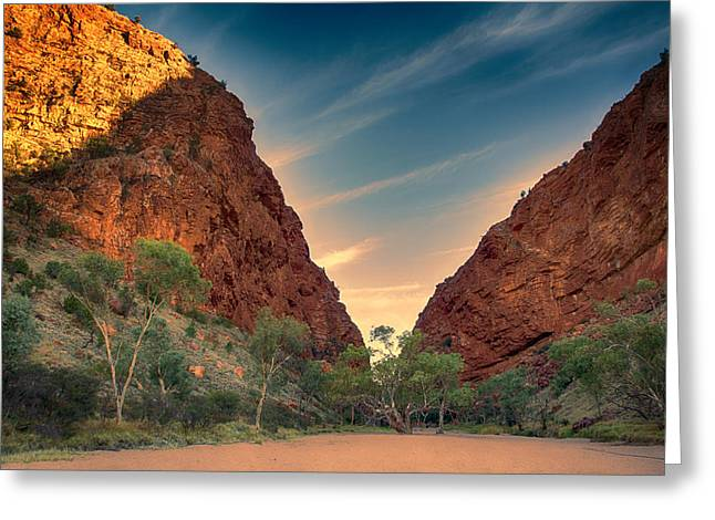 Simpson Greeting Cards - Dry River Bed-Simpsons Gap V2 Greeting Card by Douglas Barnard