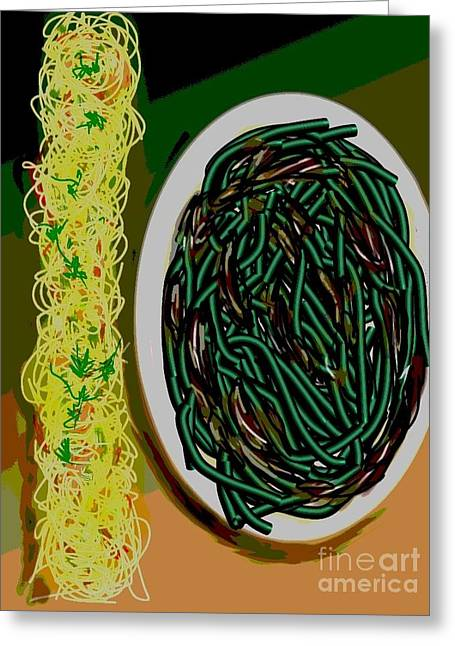 Noodles Paintings Greeting Cards - Dry Sauteed Stringbeans Greeting Card by Lisa Owen-Lynch