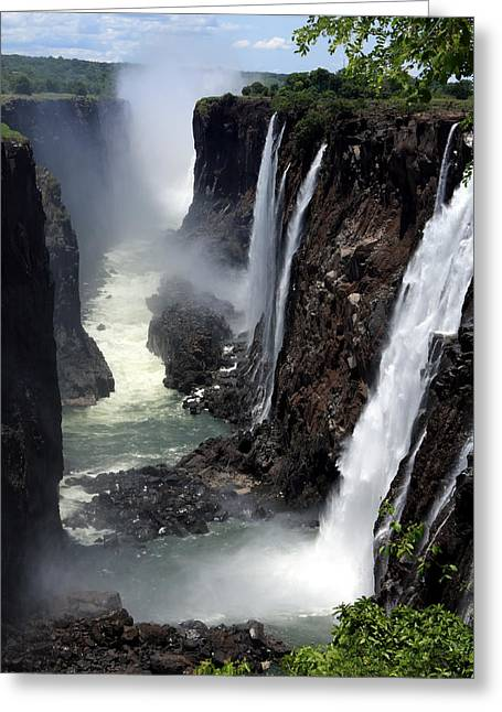 Zimbabwe Greeting Cards - Dry Season At Victoria Falls Greeting Card by Aidan Moran