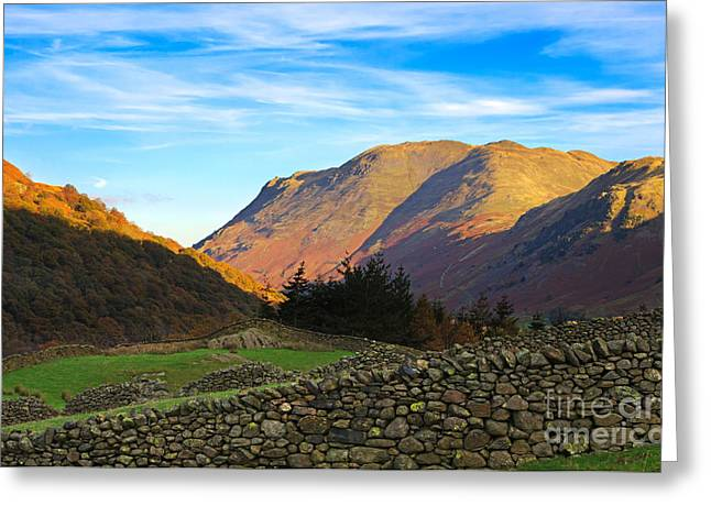 Dry Stone Wall. Greeting Cards - Dry stone walls in Patterdale in the Lake District Greeting Card by Louise Heusinkveld