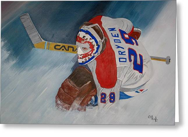 Goalie Paintings Greeting Cards - Dryden Greeting Card by Clifford Knoll