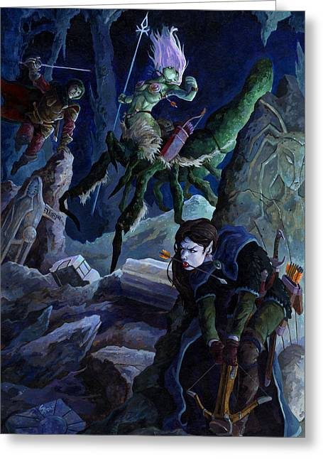 Dungeons Paintings Greeting Cards - Dryder Ambush Greeting Card by Storn Cook
