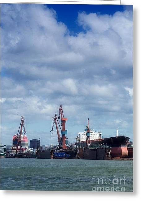 Afloat Greeting Cards - Drydock At Gothenburg 01 Greeting Card by Antony McAulay