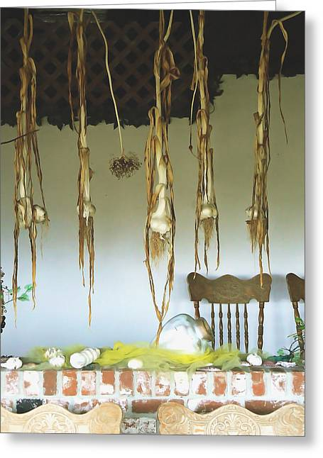 Grow Inside Greeting Cards - Drying Garlic Greeting Card by Pamela Patch
