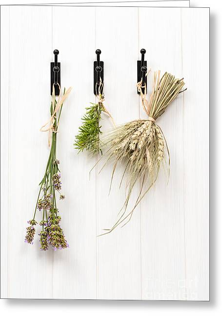 Herb Greeting Cards - Drying Herbs With Lavender Greeting Card by Amanda And Christopher Elwell