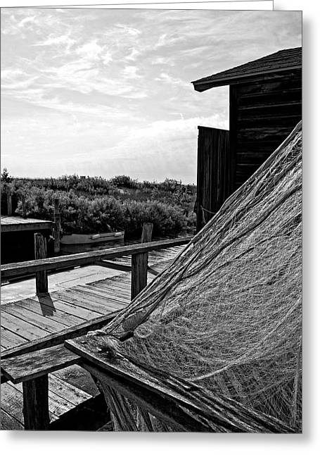 Commercial Fishing Greeting Cards - Drying the Nets Greeting Card by Michelle Calkins
