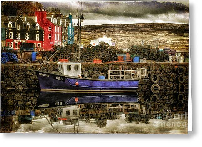 Port Town Digital Art Greeting Cards - Tobermory Isle of Mull Greeting Card by Lois Bryan