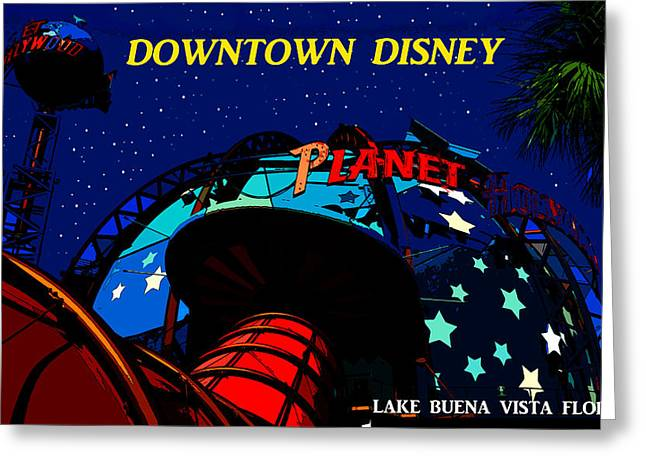 Lake Buena Vista Greeting Cards - Planet Hollywood Night Greeting Card by David Lee Thompson