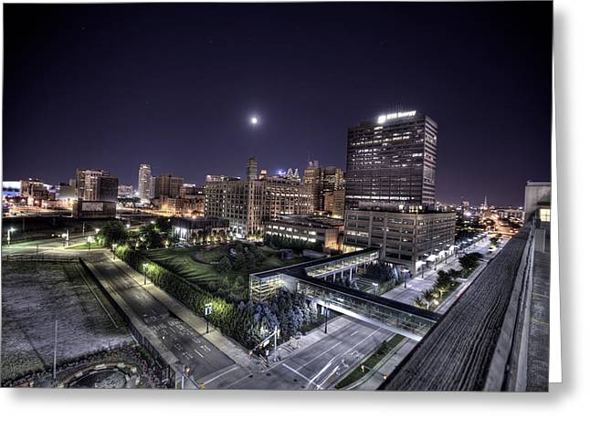 Detroit Pistons Digital Greeting Cards - DTE in Detroit Greeting Card by Nicholas  Grunas