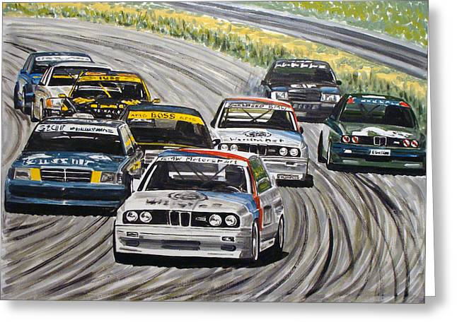 Auto Drawings Greeting Cards - DTM BMW E30 Mercedes W190 Greeting Card by Rimzil Galimzyanov