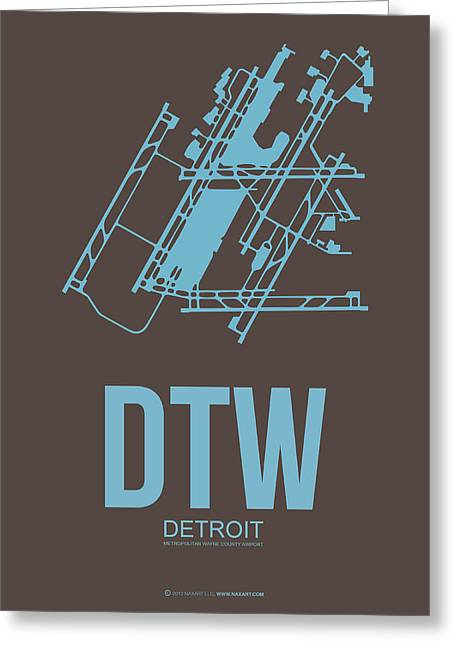 Detroit Greeting Cards - DTW Detroit Airport Poster 1 Greeting Card by Naxart Studio