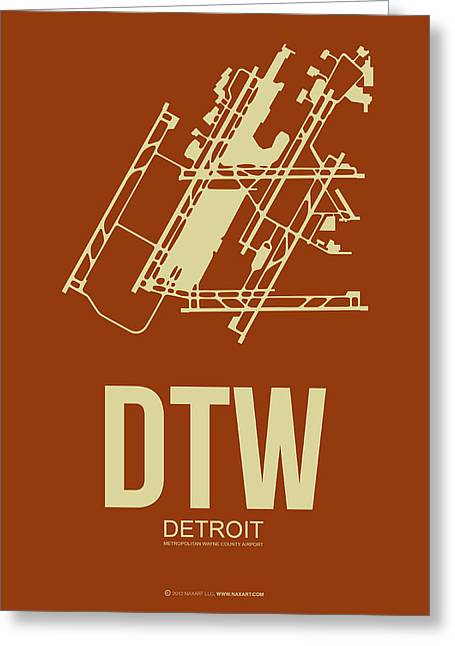 Town Mixed Media Greeting Cards - DTW Detroit Airport Poster 2 Greeting Card by Naxart Studio