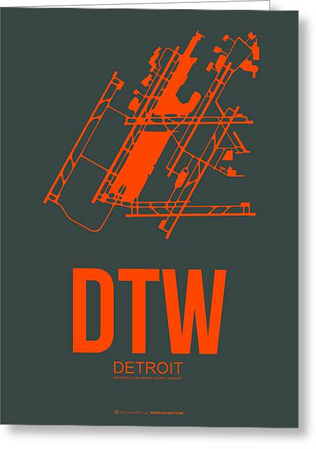 Detroit Greeting Cards - DTW Detroit Airport Poster 3 Greeting Card by Naxart Studio