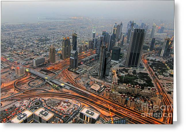 Dubai Greeting Cards - Duabi from above Greeting Card by Lars Ruecker