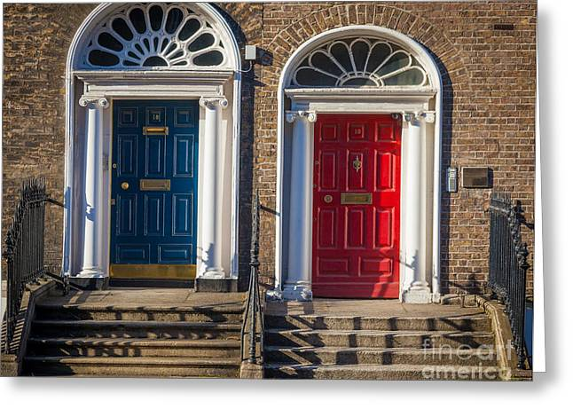 Entryway Photographs Greeting Cards - Dual Doors Greeting Card by Inge Johnsson