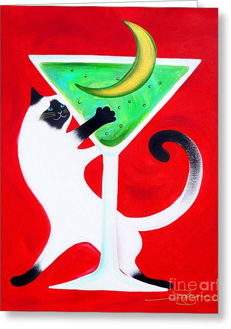 Moon Martini Greeting Card by Gem S Visionary