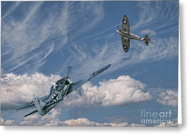 Military Airplanes Greeting Cards - Duel Over Dieppe Greeting Card by Peter Chapman