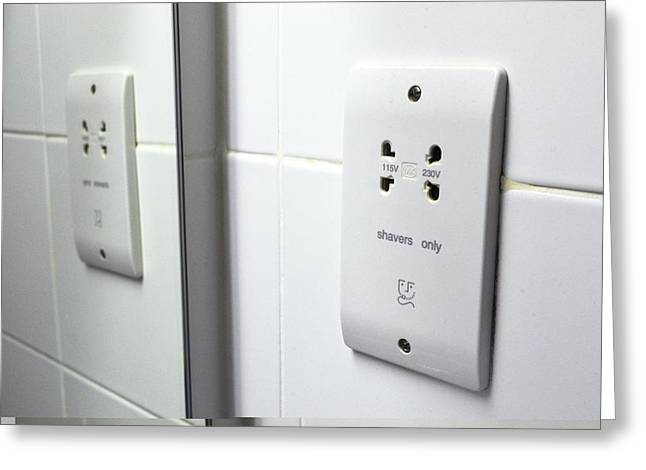 Electrical Wiring Greeting Cards - Dual voltage shaver point Greeting Card by Science Photo Library