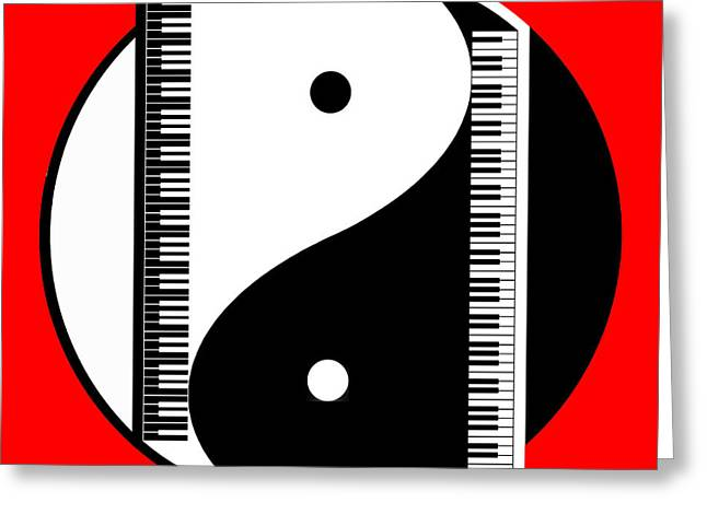 Yang Greeting Cards - Duality in Red Greeting Card by Cristophers Dream Artistry