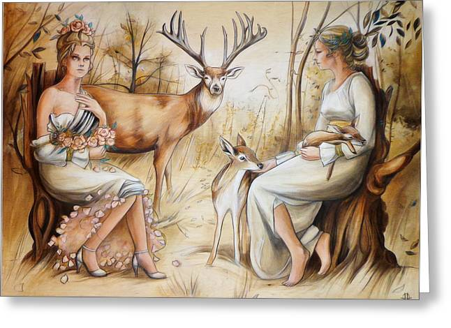 Hart Greeting Cards - Duality of the Matriarch Greeting Card by Jacque Hudson