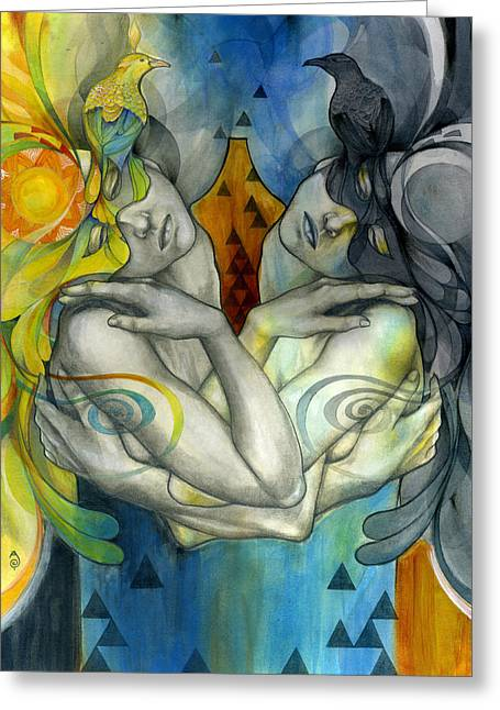 Figurative Mixed Media Greeting Cards - Duality Greeting Card by Patricia Ariel