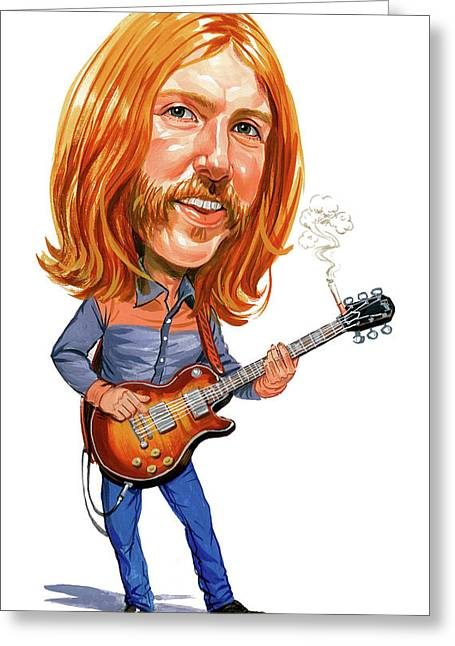 Rock And Roll Paintings Greeting Cards - Duane Allman Greeting Card by Art