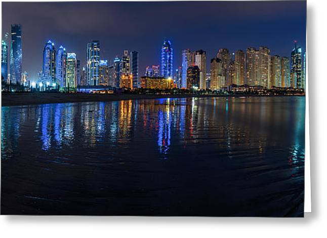 Skyscraper Pyrography Greeting Cards - Dubai - Marina Skyline at Night Greeting Card by Jean Claude Castor