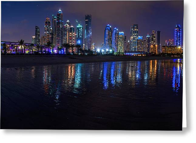 Wolkenkratzer Greeting Cards - Dubai - Marina Skyline Panorama at Night Greeting Card by Jean Claude Castor