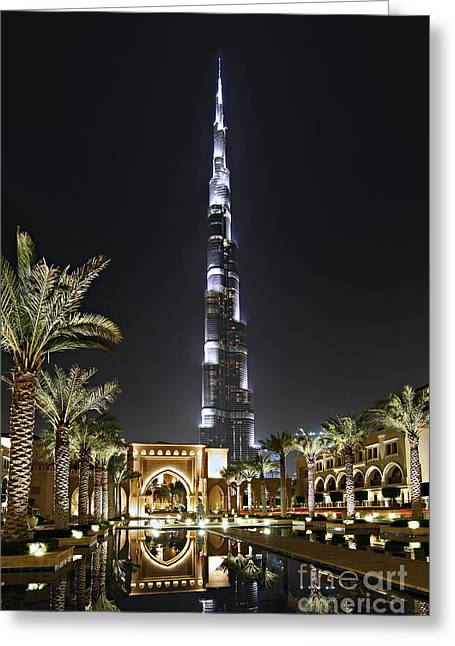 Middle East Photographs Greeting Cards - Dubai at Night Greeting Card by Lars Ruecker