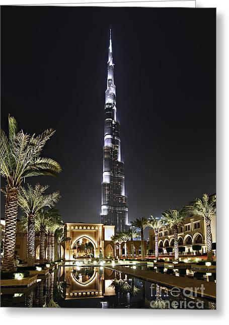 Dubai Greeting Cards - Dubai at Night Greeting Card by Lars Ruecker