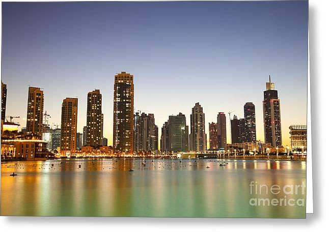 Fototrav Print Greeting Cards - Dubai City skyline Greeting Card by Fototrav Print