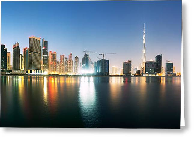 Sunset Posters Greeting Cards - Dubai cityscape at dusk Greeting Card by Matteo Colombo