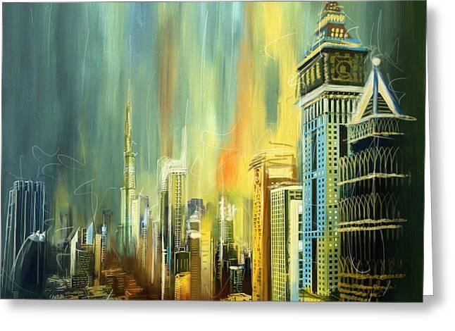 Dubai Greeting Cards - Dubai Downtown Skyline Greeting Card by Corporate Art Task Force