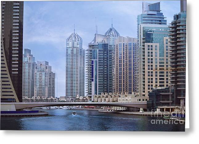 Boat Pyrography Greeting Cards - Dubai Marina Greeting Card by Jelena Jovanovic