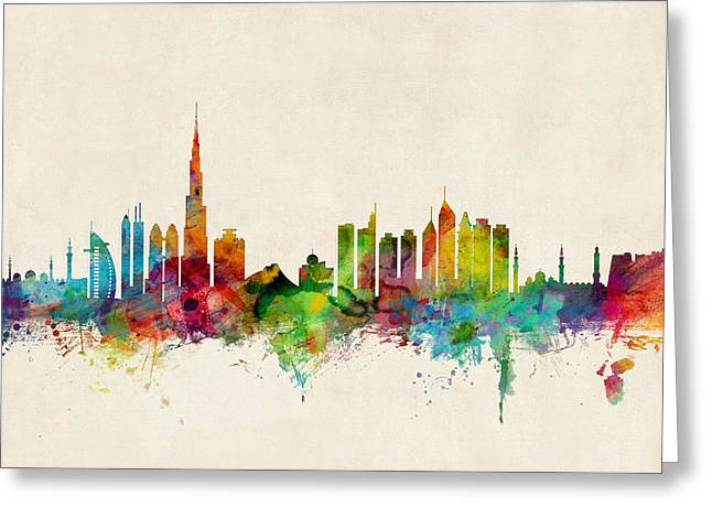 Urban Watercolor Greeting Cards - Dubai Skyline Greeting Card by Michael Tompsett