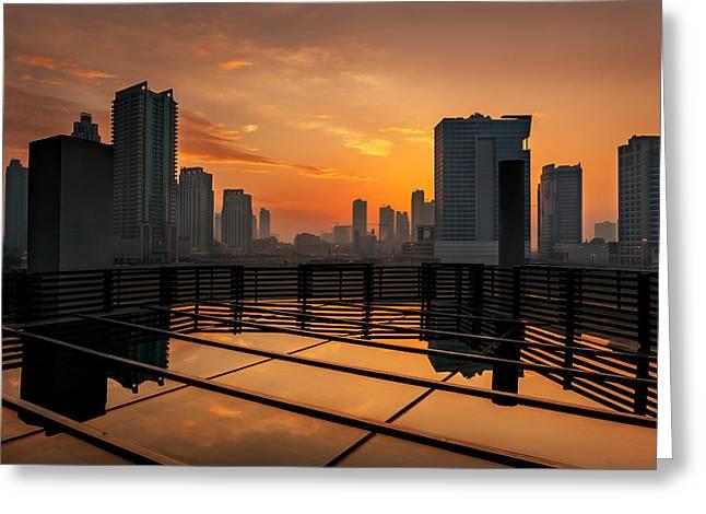 Gcc Greeting Cards - Dubai Skyline Sunrise Greeting Card by Shahid Khan