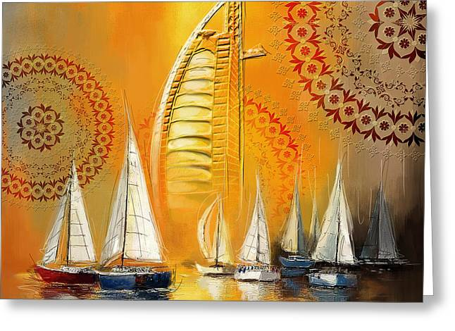 Docked Boats Greeting Cards - Dubai Symbolism Greeting Card by Corporate Art Task Force