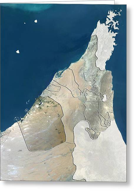 Umm Greeting Cards - Dubai, UAE, satellite image Greeting Card by Science Photo Library