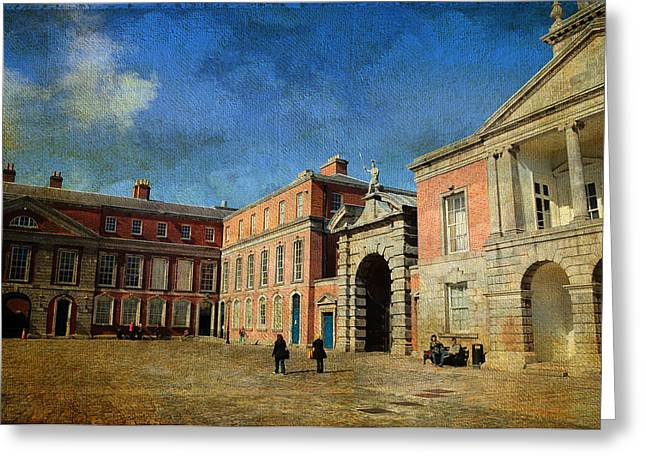 Historical Buildings Greeting Cards - Dublin Castle. Streets of Dublin. Painting Collection Greeting Card by Jenny Rainbow